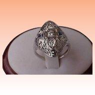 Unique 18K White Gold  Filigree Ring: .50ct Old European Cut Diamond & Sapphires,ART DECO