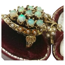 Victorian Unique 14K Yellow Gold Genuine Opal Seed Pearl Ring, late 1800s