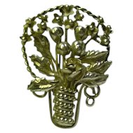 Hobe Sterling Basket of Flowers Brooch Pin
