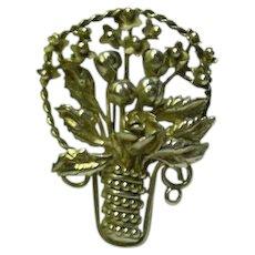 Hobe Sterling Basket of Flowers Brooch Pin