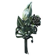 Hobe Sterling Bouquet  of Flowers Brooch Pin