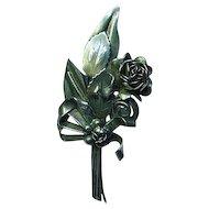 Hobe Sterling Bouquet  of Flowers Brooch Pin