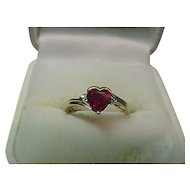 10k Heart  Shaped Garnet  Ring with Diamonds