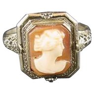 Vintage Art Deco 14K White Gold Cameo/Onyx And  Diamond  Rotating Ring