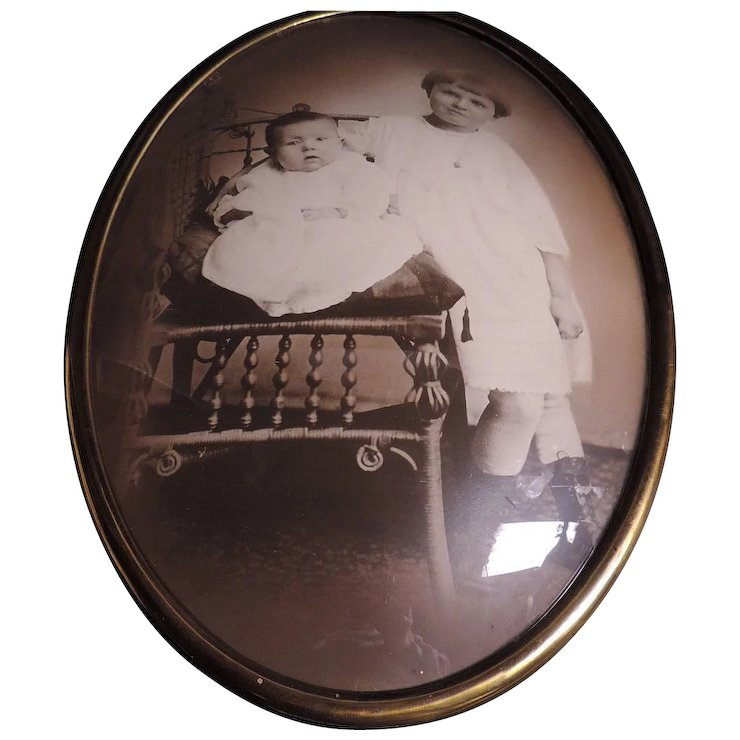 Antique Brass Oval Convex Glass Picture Frame With Original Photo