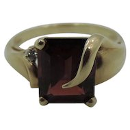 Ruby Red Garnet With Diamond Chip 10k Gold