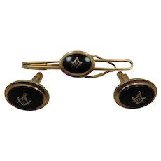 Men' s Masonic Gold Filled Cuff Links and Tie Bar Set