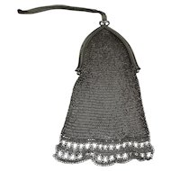 Vintage Whiting and Davis Silver  Metal Mesh Bag Purse