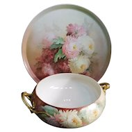 Stunning  Victorian T & V Chrysanthemum  Antique Handpainted Limoges France Serving Tray With Matching Bowl