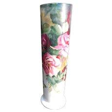 Gorgeous Large  T & V  Limoges France Tall Cylinder Vase Artist  Signed E.S.I.