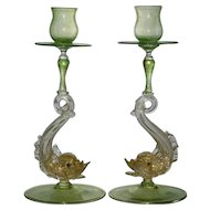 Pair of Italian Venetian Murano Glass Candlesticks  By Designer Salviati  Hand blown