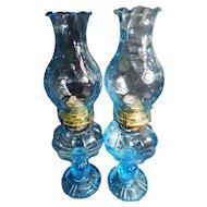 Fostoria Blue Coin Glass Electric Patio Lamps