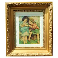 Antique Gold Ornate Gesso Frame With An Original Antique Print