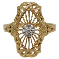 10K Yellow Reticulated Diamond Ring