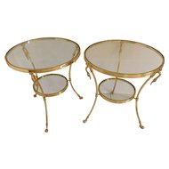 One or Two  Italian Mid Century Modern  Brass And Glass Swan Two Tiered Tables Buy Or Both