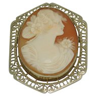 Vintage 14K White Gold Cameo Brooch/Pendant