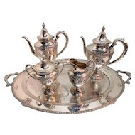 Sterling Silver Repousse' 5 Piece Tea Service By Wallace Rose Point