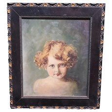 Victorian Handpainted Oil Painting Of A Little Blonde Girl