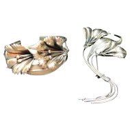 Sterling Cuff Barcelet And Matching Pin