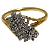 Yellow Gold And Diamond Cluster Ring 14K