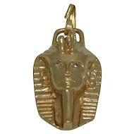 14K Gold King Tut Pendant With Diamonds