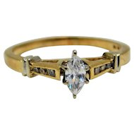 Marquis Diamond ring 14K Yellow Gold