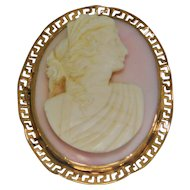 Angle Skin Coral Carved Cameo Brooch 10K