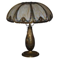 Vintage Flowered Slag Glass Table Lamp 8 Panel
