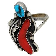 Navajo Handmade  Turquoise And Coral Sterling Ring IHMS