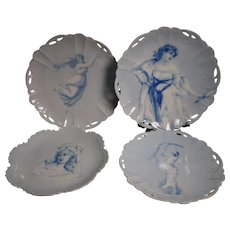 4 Porcelain Portrait Plates By Rosenthal For Royal Copenhagen