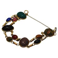 Vintage 1940's Egyptian Revival Double Link  Scarab Bracelet With Gemstones