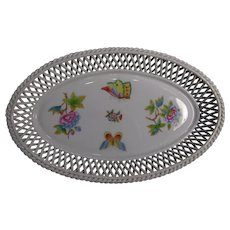 Herend  Queen Victorian Oval Basket Woven Tray