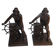 Bronze Nautical Bookends Designer Leonard Craske