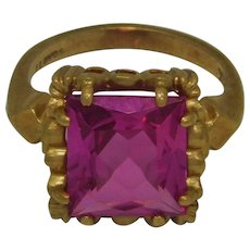Large Pink Topaz Ring 10K Gold