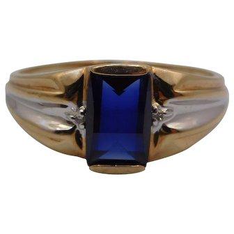 Men's 10K Gold blue  Topaz Large Ring