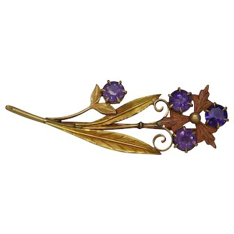 Yellow and Rose Gold Amethysts Brooch