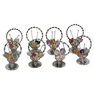 8 Silver Sterling  900 Card Holder Baskets With Precious Stones