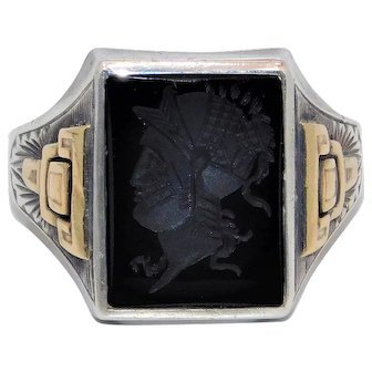 Men's 10K Yellow Gold With Sterling Hematite Intaglio Warrior Ring