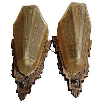 Original Art Deco Slip Shade  Wall Sconces