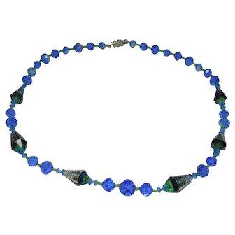 Vendome Art Glass Single Strand  Necklace
