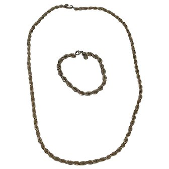 Tiffany & Co. Sterling Silver ,18K Yellow Gold Twisted Rope Necklace Chain And Matching Bracelet