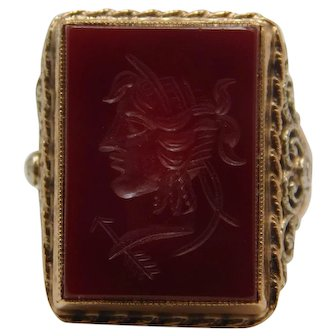 10K  Carnelian Ring With A Carved Warriors Head
