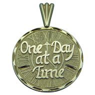 "14K Yellow Gold Charm ""One Day At A Time"""