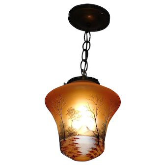 Hanging Pendant Ceiling  Light Hand Painted Carnival Glass Shade