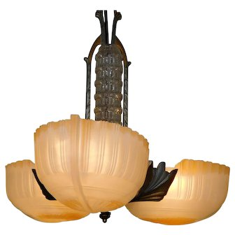 Vintage Slip Shade hanging Light Fixture