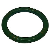 Green Bakelite Carved Bangle Bracelet