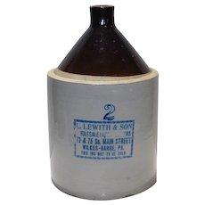 Vintage Large 2 Gallon Jug Wilkes-Barre Pa
