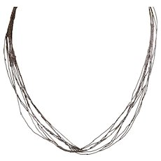 Southwestern Style Liquid Silver Necklace 925