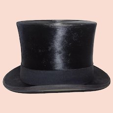 Victorian  Men's Black Silk Top Hat With Box