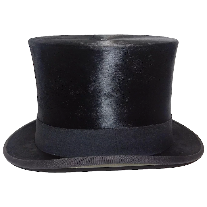 71a9ad6f Victorian Men's Black Silk Top Hat With Box : Penn Floral & Antiques | Ruby  Lane